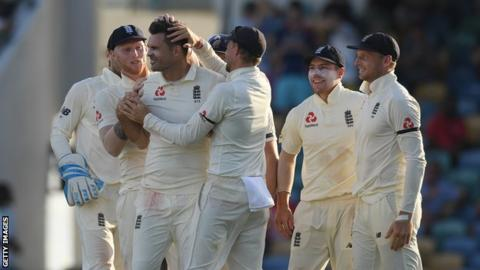James Anderson took four wickets in the final session to swing the first Test in England's favour on day one against West Indies in Barbados. The hosts had looked on top, with Shai Hope, Roston Chase and Shimron Hetmyer hitting fifties.