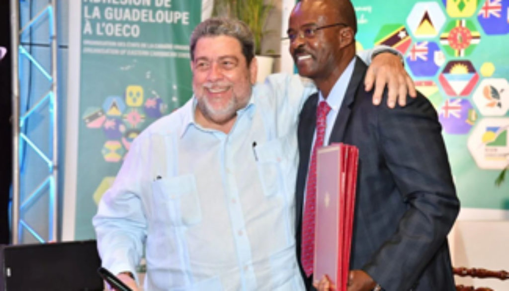 PM Gonsalves and Guadeloupe Premier 14 March 2019 via OECS