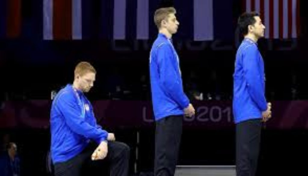 American athletes protest at the PanAmerican Games