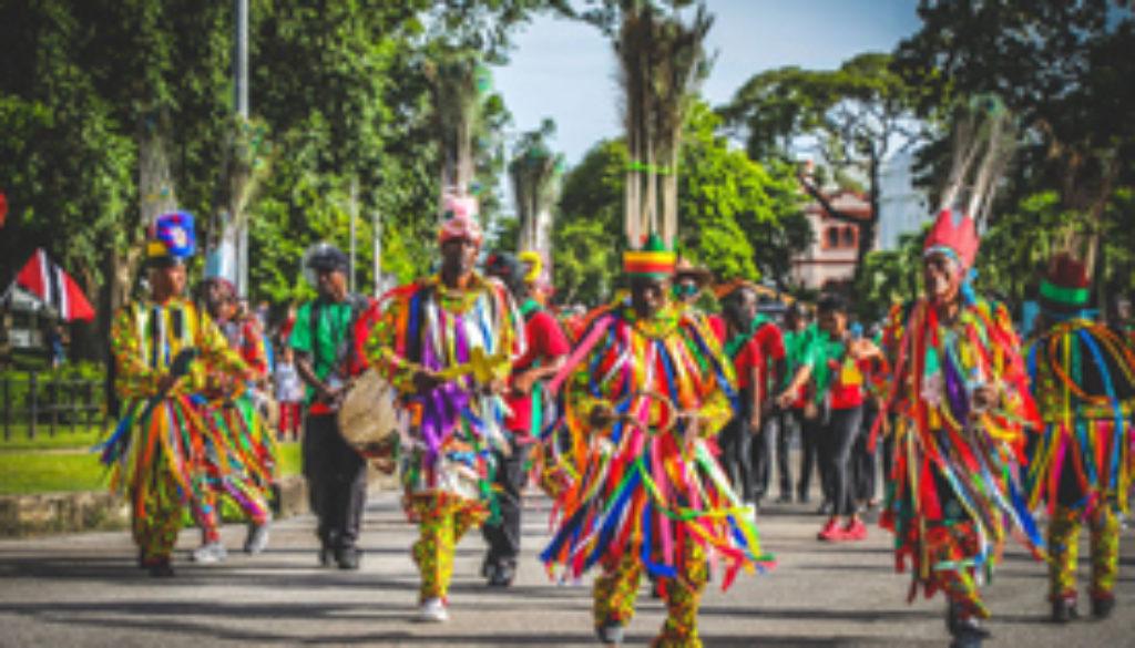 "Patrons ""dancing de masquerade"" at Carifesta 14"